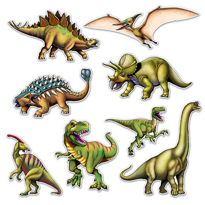 Cutouts of dinosaurs printed in great detail.