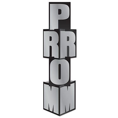 "Column with a black background and silver letters spelling ""prom""."