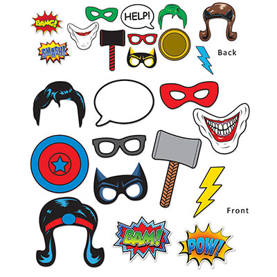 Fun signs with superhero theme to each piece.