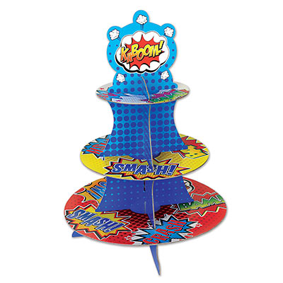 Superhero cupcake stand make with bright colors and card stock material.