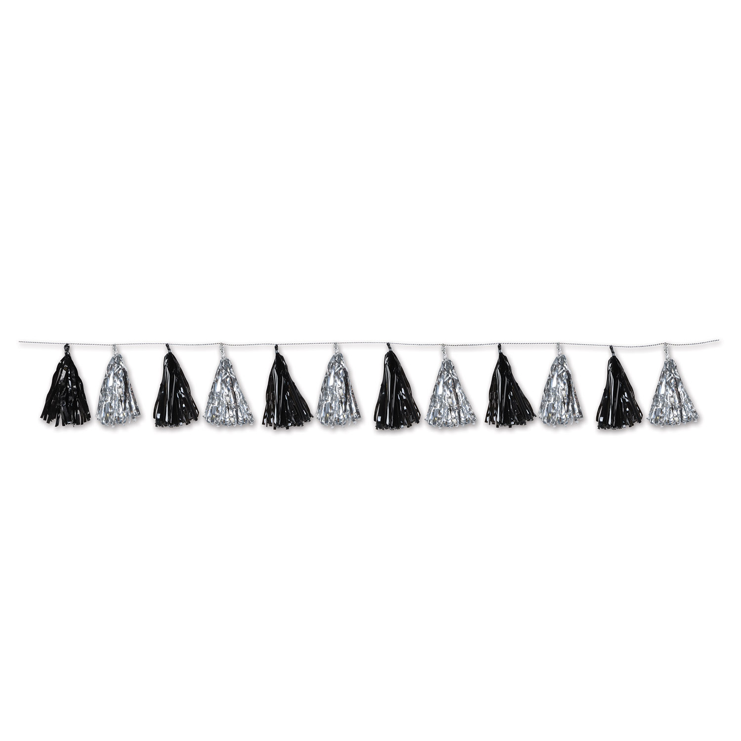 Metallic Tassel Garland (Pack of 12) Metallic Tassel Garland, decoration, new years eve, black, silver, wholesale, inexpensive, bulk