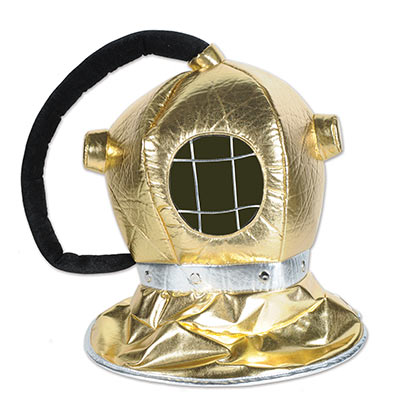 Diver helmet made of gold plush material.