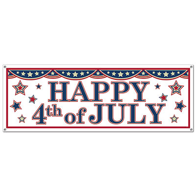 "White banner with patriotic designs of bunting, stars and the traditional saying of ""Happy 4th of July""."