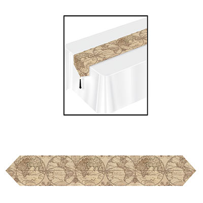 table runner with globes on it in the theme of a world traveler