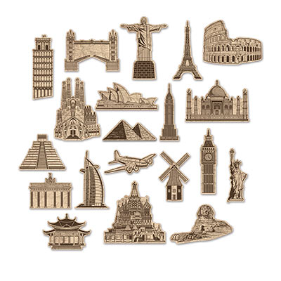 Cutouts from around the world displaying famous places to visit.