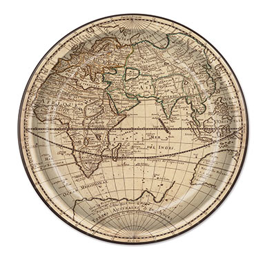 Around the world paper plates that displays images of the globe.