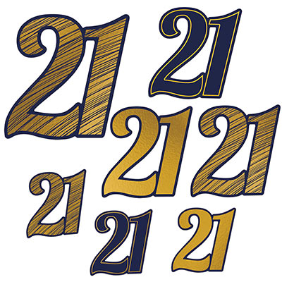 "Black and gold ""21"" cutouts in various sizes and designs."