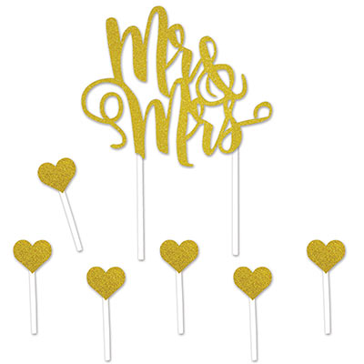 Mr & Mrs. cake topper that is gold with glitter and includes six heart accents.