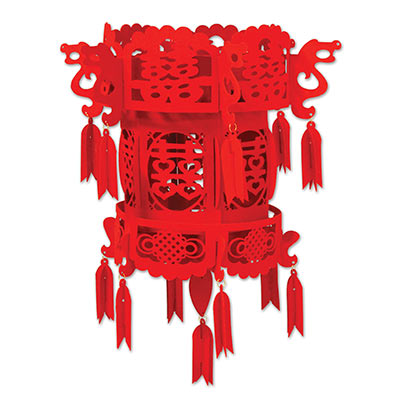 red fabric lantern that has Chinese markings all over it