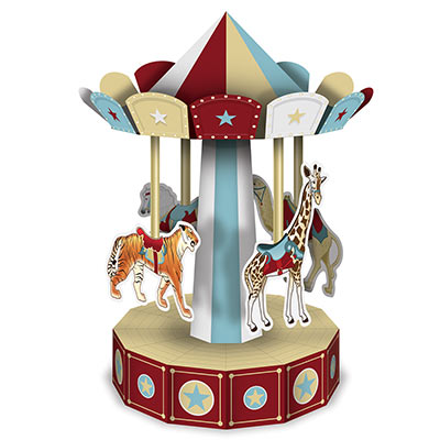 Centerpiece in 3-D designed to look like a vintage circus carousel.