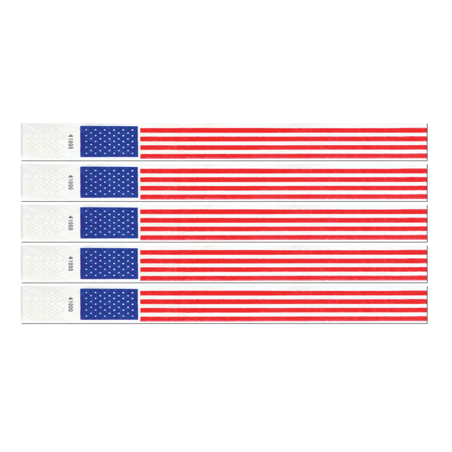 Patriotic Tyvek Wristbands (Pack of 100) Red White Blue, Patriotic accessory, Tyvek Wristbands, Inexpensive party accessories, Fourth of July, 4th of July, Novelty Party supplies, Cheap party goods, Wholesale party supplies, Patriotic party supplies
