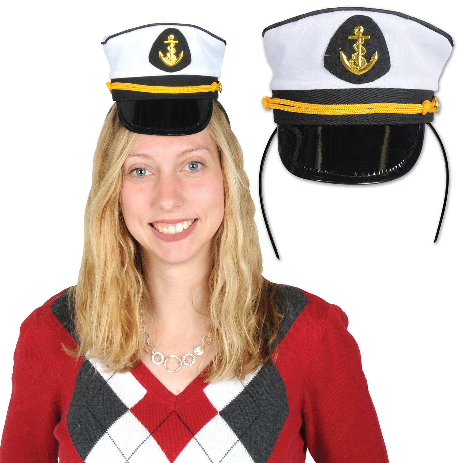 Headband with an attachment that replicates a yacht captains hat.