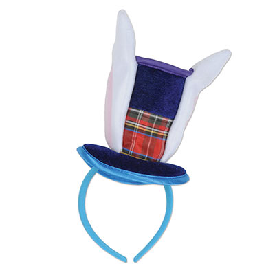 head band with rabbit ears and a plaid top hat