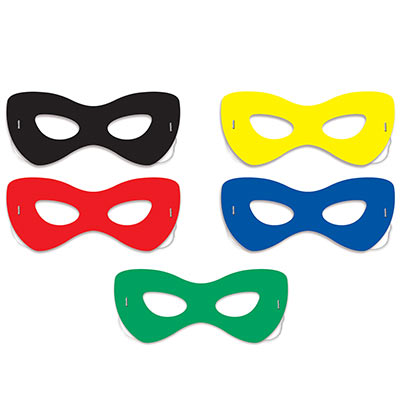 Assorted colored hero half masks.