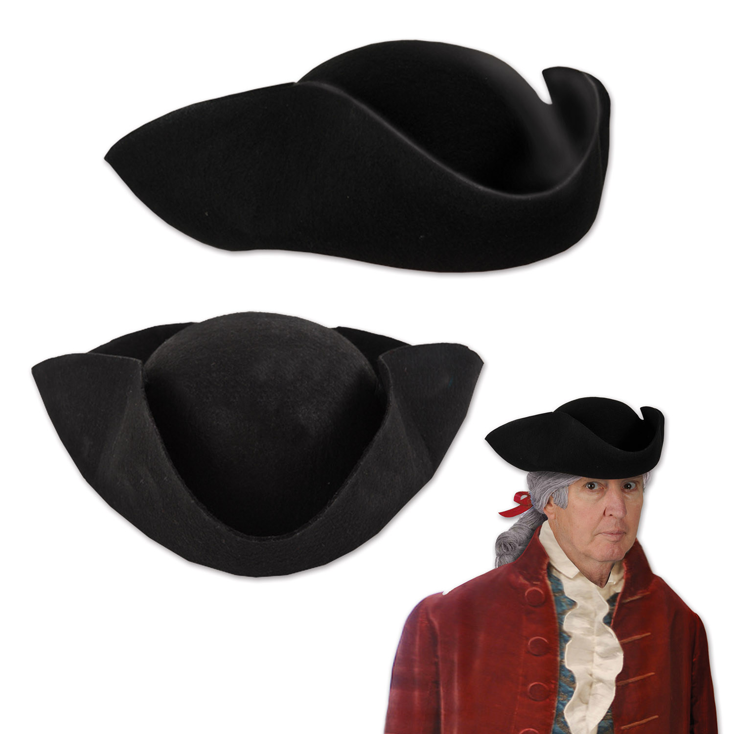 Felt Tricorn Hat (Pack of 6) Felt Tricorn Hat, patriotic, july 4th, party favor, wholesale, inexpensive, bulk