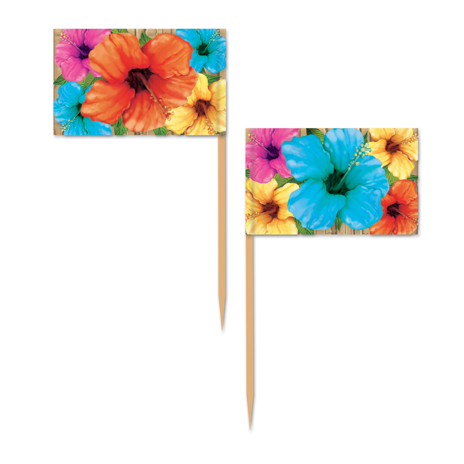 Hibiscus Picks (Pack of 600) Hibiscus Picks, decoration, luau, new years eve, wholesale, inexpensive, bulk
