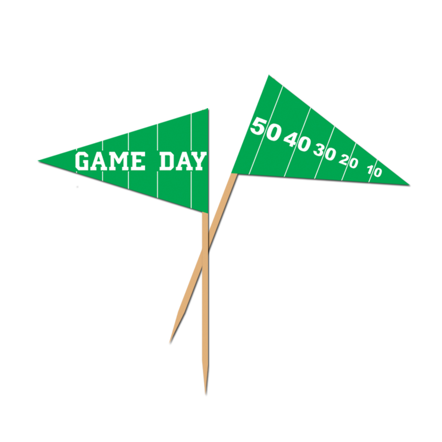 Game Day Football Picks (Pack of 600) game day, game, day, football, picks, food, field, party, playoffs, tailgating, bbq, green, white, toothpick,