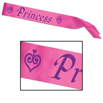 Purple Glittered on a Pink Princess Satin Sash