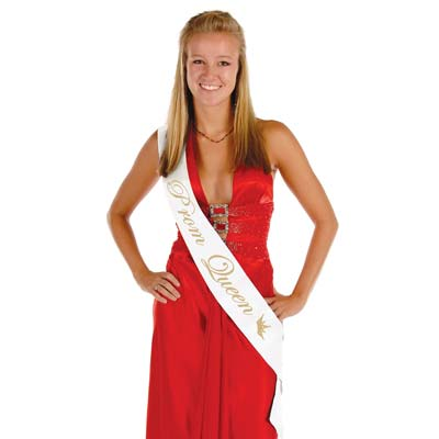 Prom Queen White Satin Sash with Gold Lettering