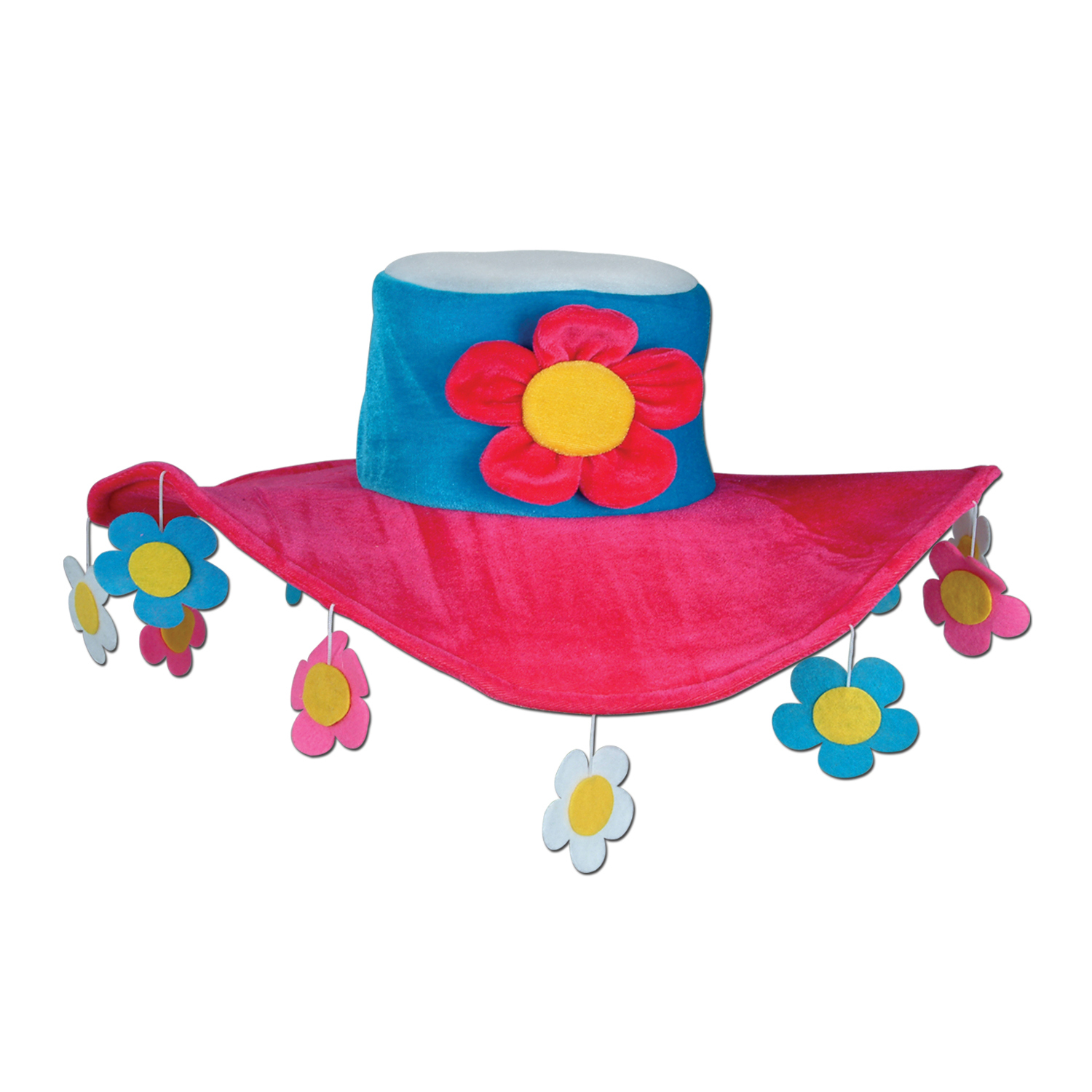 Plush Flower Power Hat (Pack of 6) Peace, hat, flower, 60s, flower power, plush hat