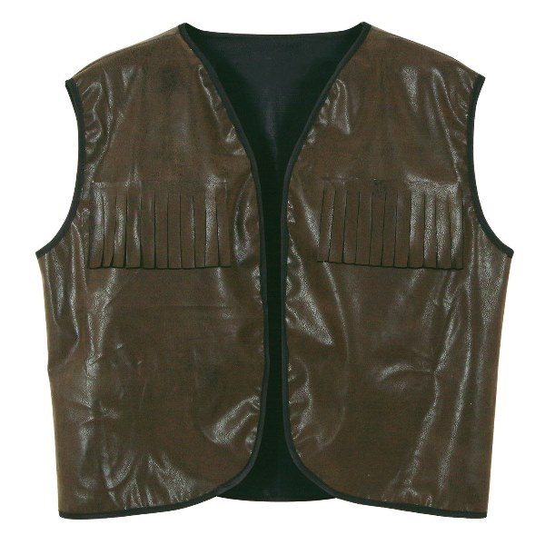 Faux Brown Leather Cowboy Vest w/Fringe (Pack of 4) .