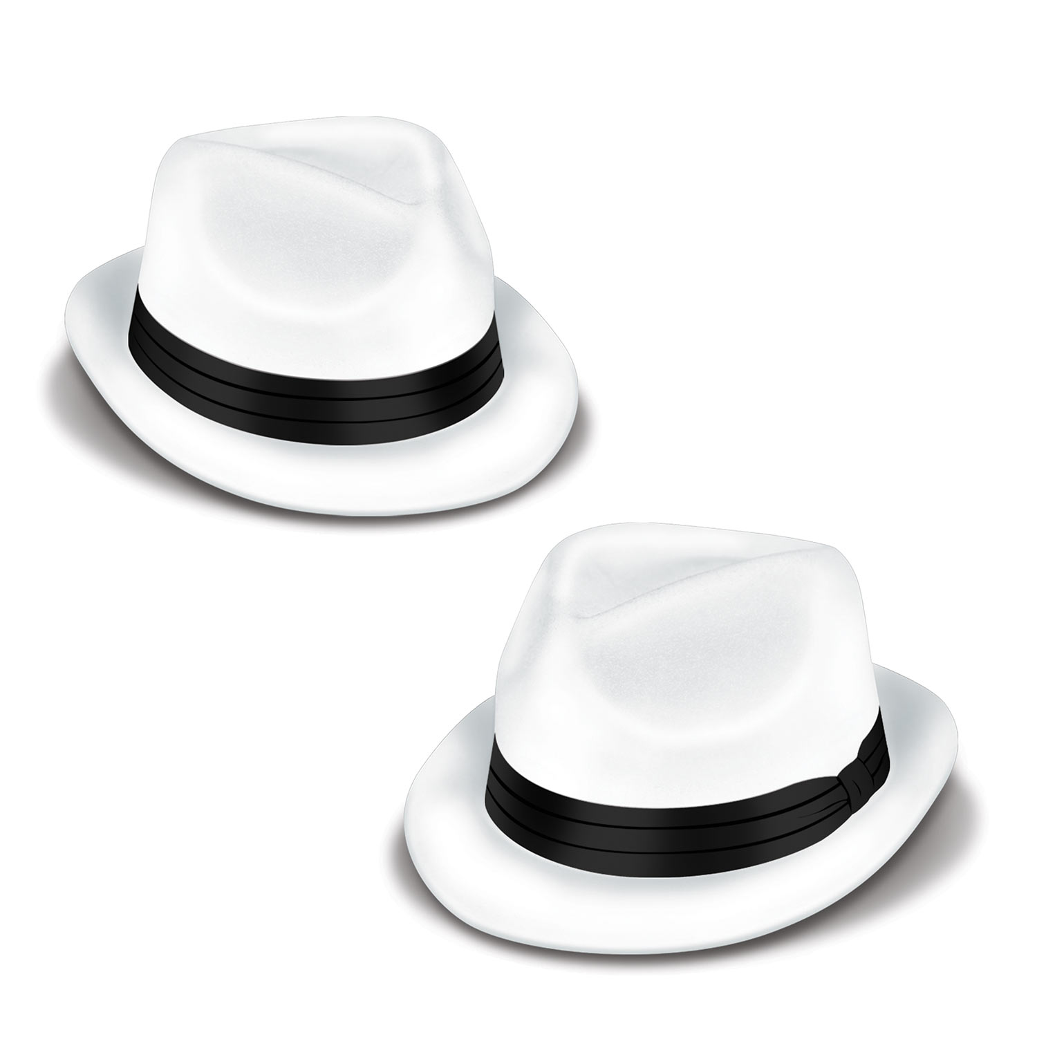White Velour Havana Chairman Hats with Black Band