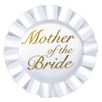Mother Of The Bride White Satin Button with Gold lettering