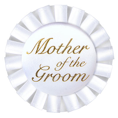 Mother Of The Groom White Satin Button with Gold lettering