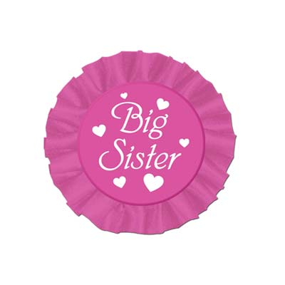 Big Sister Dark Pink Satin Button with White lettering and hearts