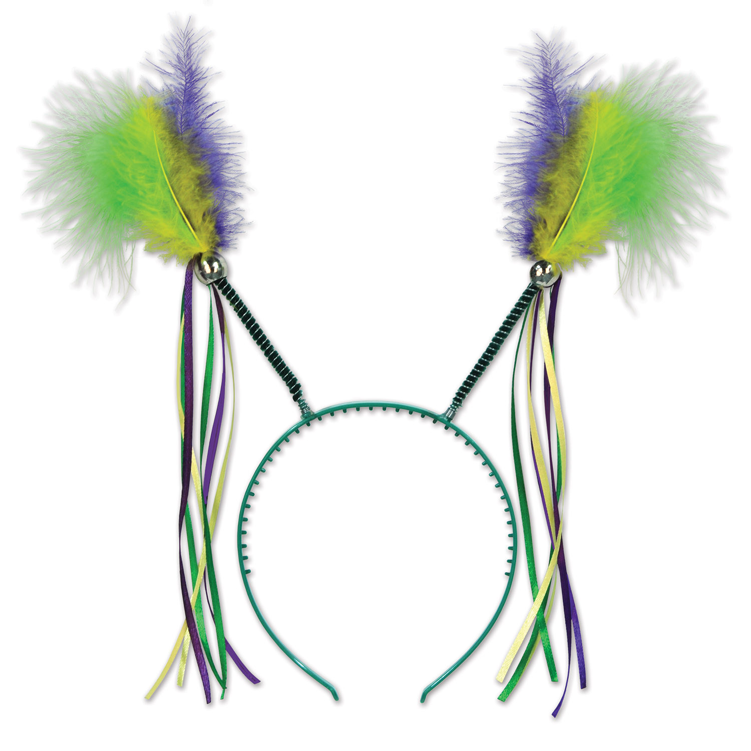 Feathers & Ribbons Mardi Gras Boppers (Pack of 12) Mardi Gras, feathers, ribbon, boppers, headband