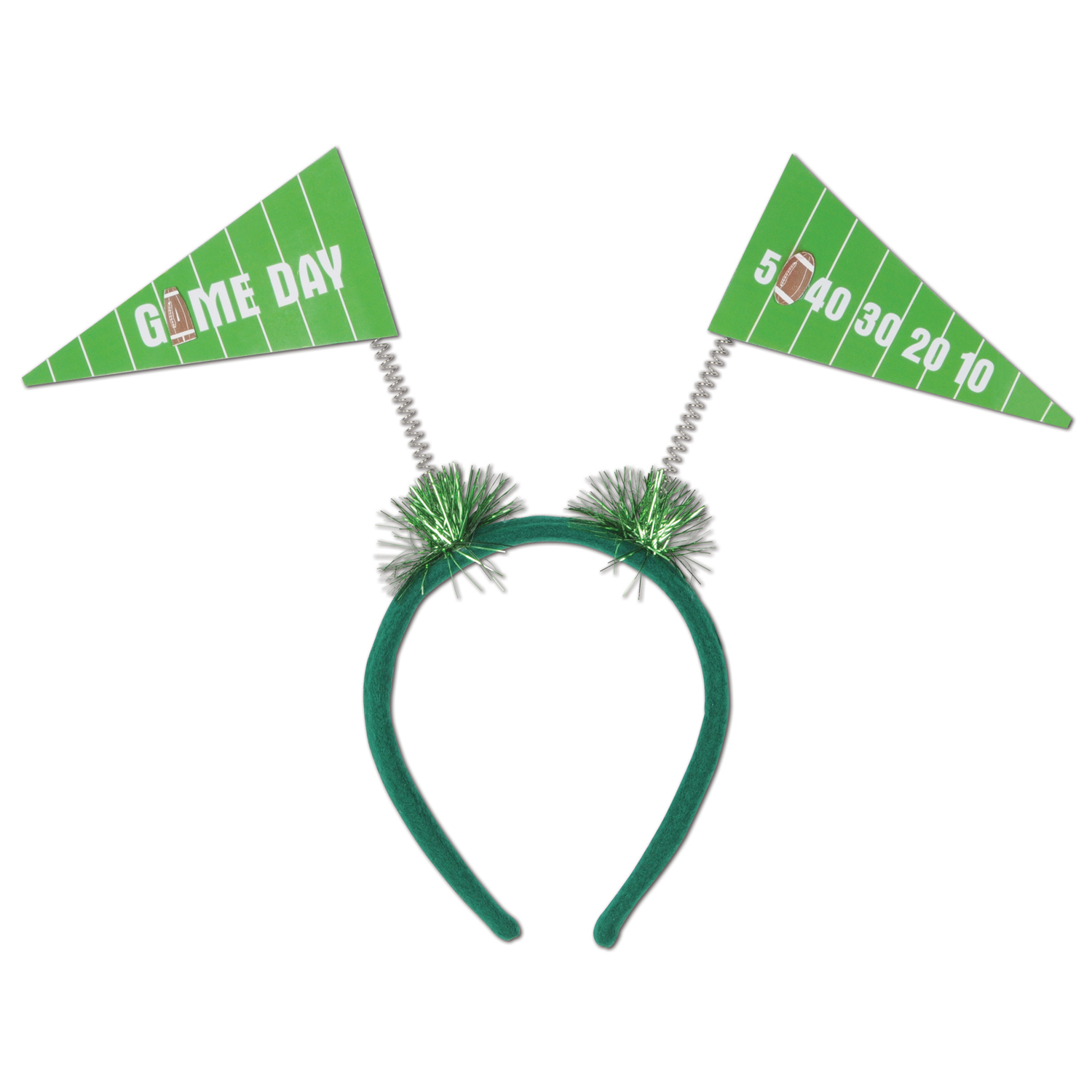 Game Day Pennant Flag Boppers (Pack of 12) Game Day Boppers, Football Headband, Pennant Flag Boppers, Green Headbands, Wholesale party supplies, Inexpensive party favors, Game Day Accessories, Football decorations, Cheap football supplies