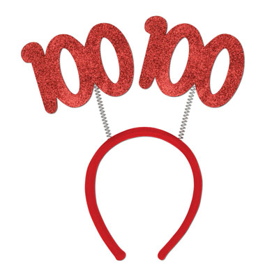 Red 100 Glittered Springy Headband