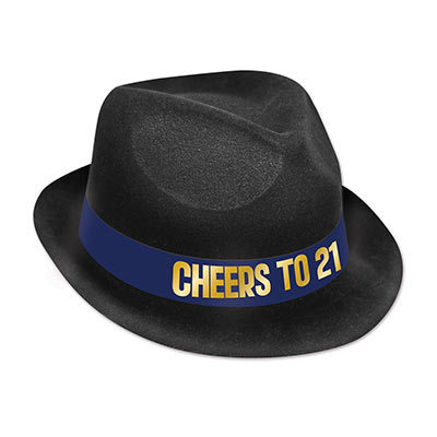 "Felour chairman hat with a blue band that reads ""Cheers to 21"" in gold."