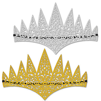 Glittered Laser Cut Tiaras (Pack of 24) Glittered Laser Cut Tiaras, glitter, tiara, silver, gold, birthday, medieval, halloween, new years eve, wholesale, inexpensive, bulk, party favor