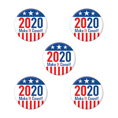 "Buttons with ""2020 Make It Count"" printed on them including stars and stripes."