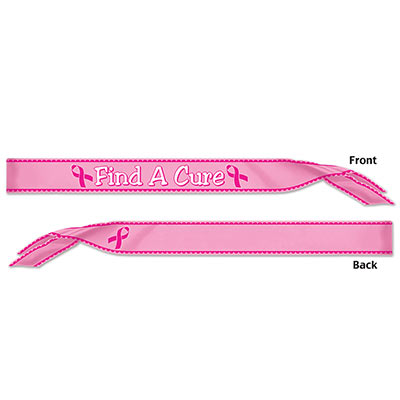 Find A Cure Satin Sash (Pack of 6) Find A Cure Satin Sash, find a cure, sash, party favor, wholesale, inexpensive, bulk