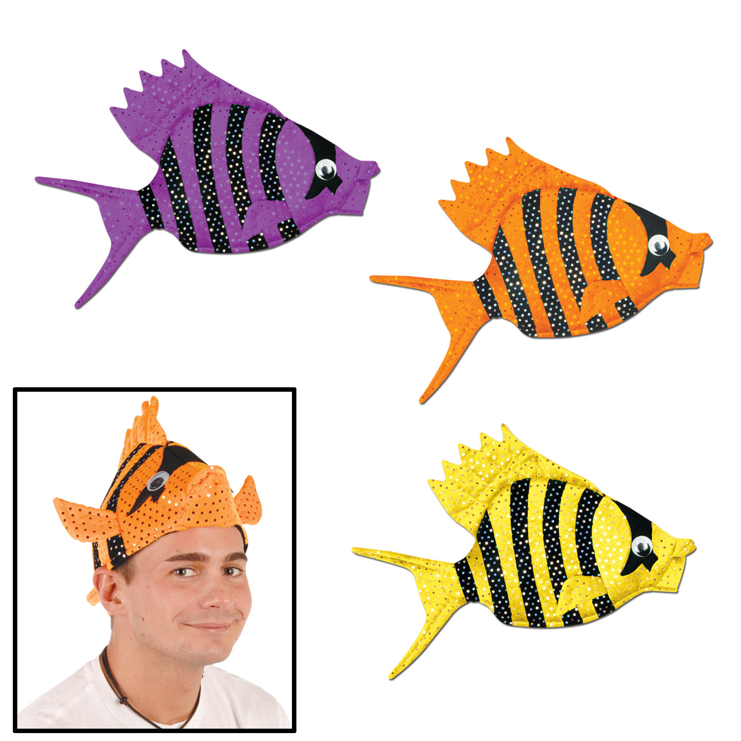 Plush Luau Fish Hats (Pack of 6) Plush Luau Fish Hats, party favor, luau, new years eve, wholesale, inexpensive, bulk