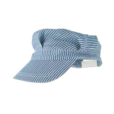 Train engineer hat with blue and white stripes.