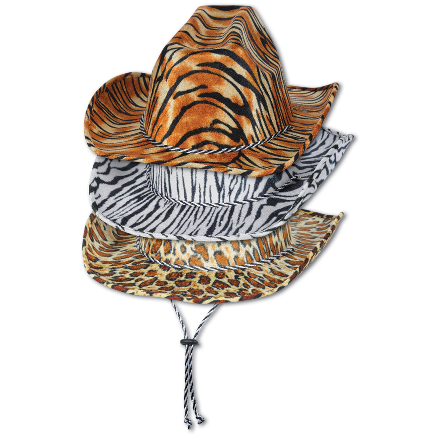 Animal Print Cowboy Hats (Pack of 6) .
