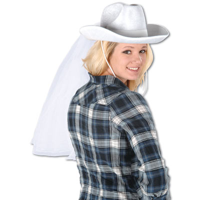 White cowboy designed hat with fabric material attach to replicate a veil.