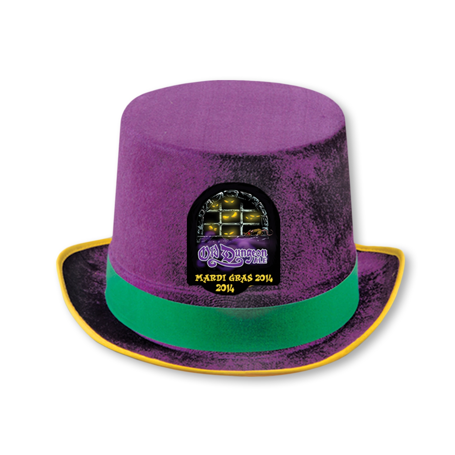 Custom Felt Mardi Gras Top Hat  .