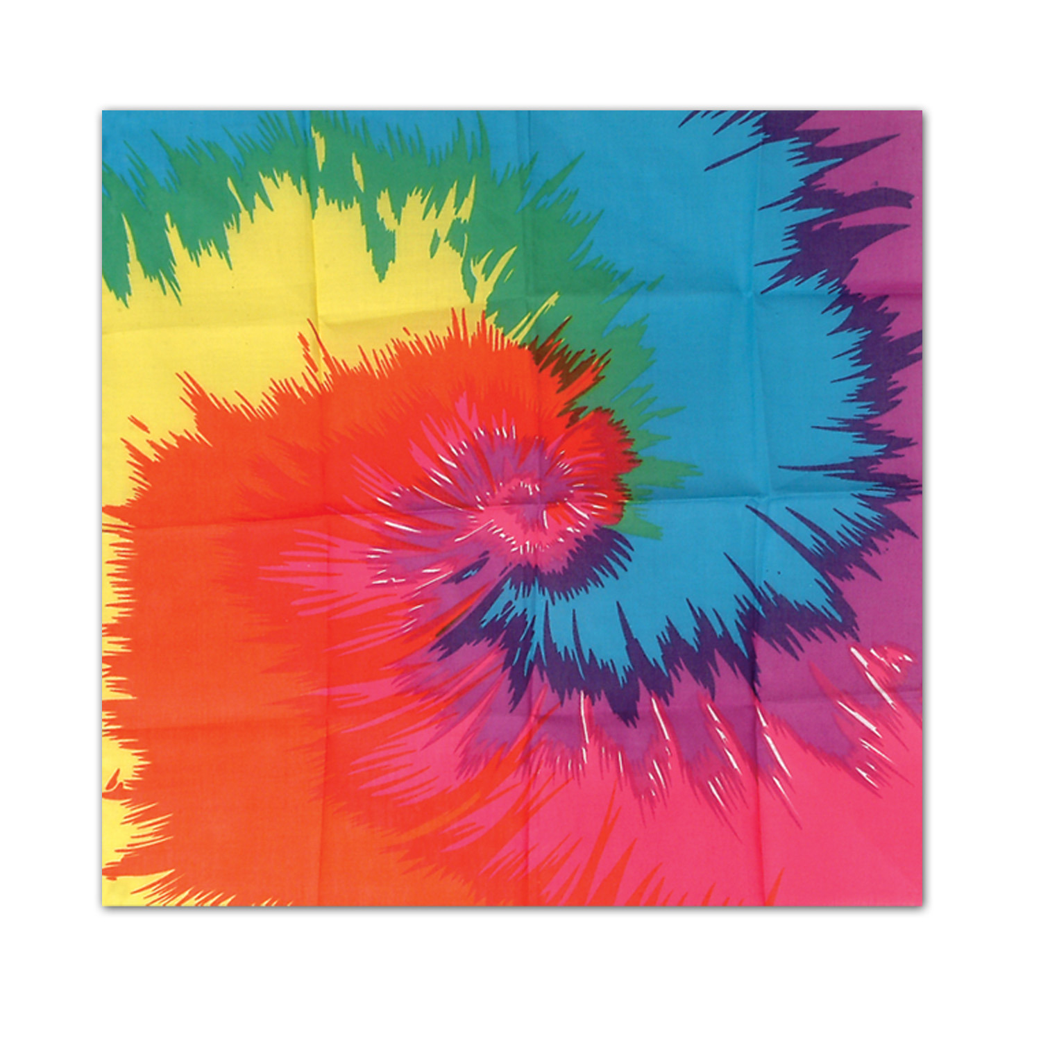 Funky Tie-Dyed Bandana (Pack of 12) Funky Tie-Dyed Bandana, decoration, party favor, 60s, 1960s, new years eve, halloween, wholesale, inexpensive, bulk