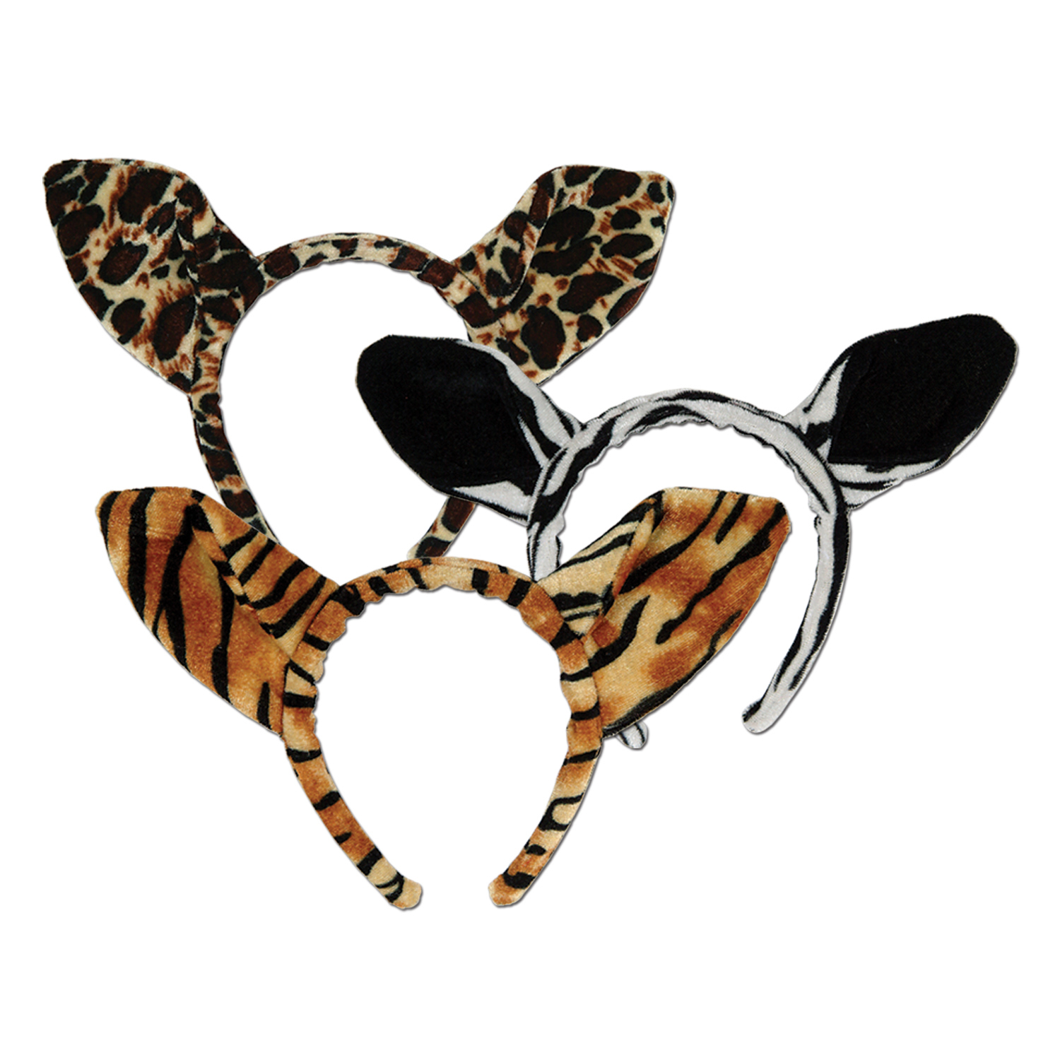 Soft-Touch Animal Print Ears (Pack of 12) .