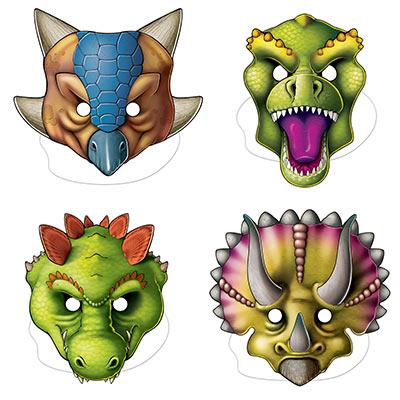 Card stock masks printed with fun dinosaur faces.