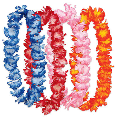 Hawaiian floral leis with colors of blue, red, pink, yellow and orange.