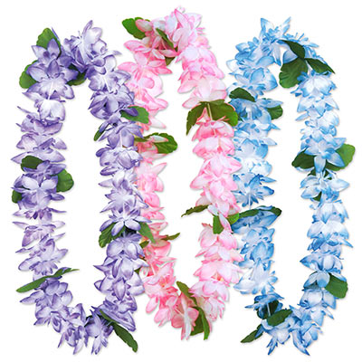 Island floral leis made of purple, pink and blue petals.