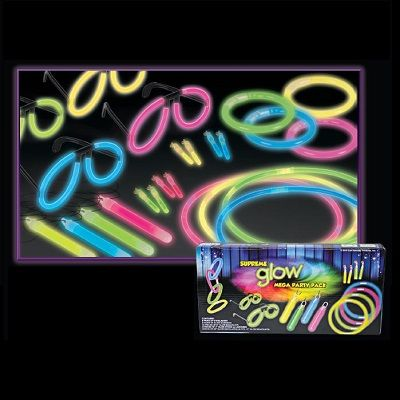 Discount bulk glow party pack with necklaces, glow sticks, and glow glasses
