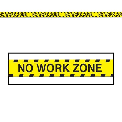 Yellow No Work Zone Party Tape with Black Bold Lettering