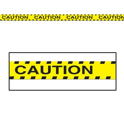 Yellow Caution Party Tape with Black Bold Lettering