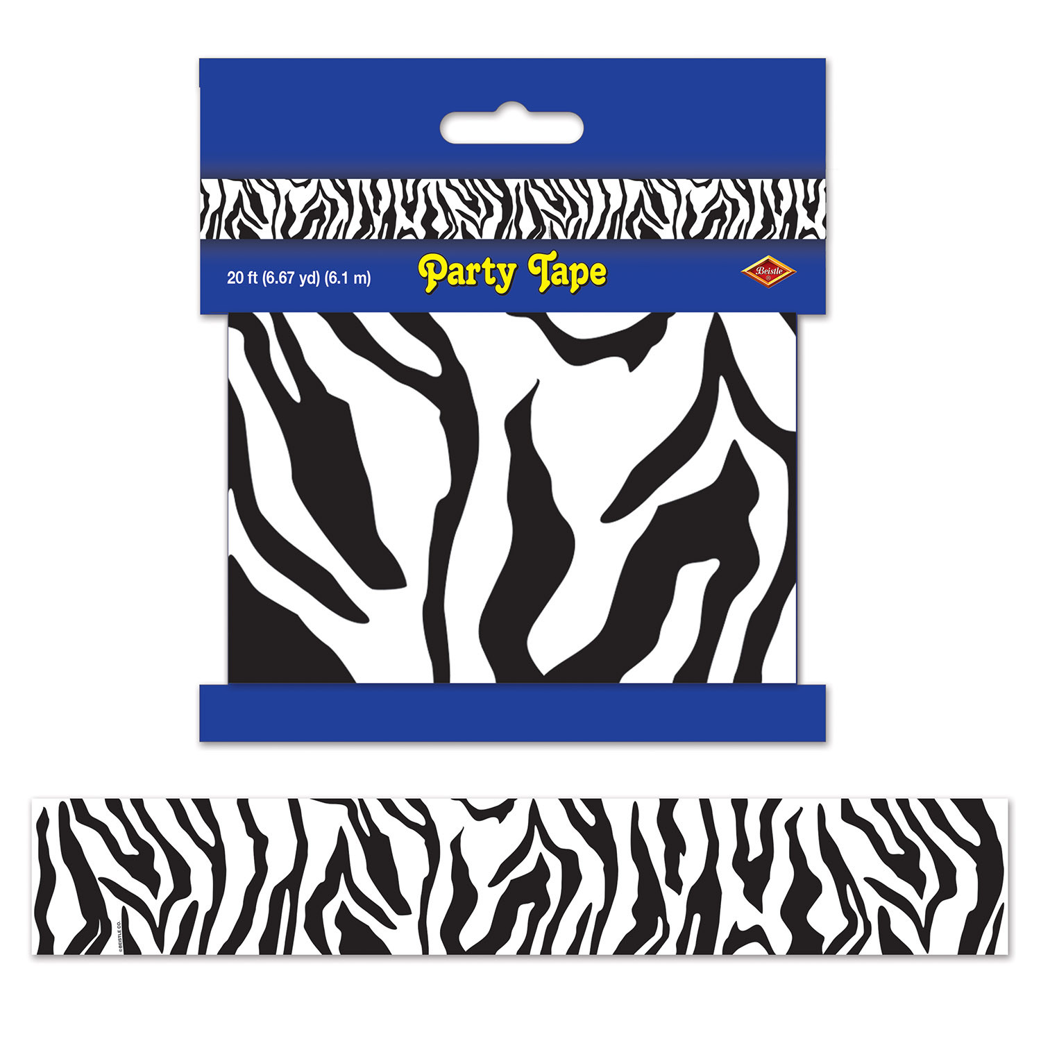 Zebra Print Party Tape (Pack of 12) Zebra Print Party Tape, decoration, luau, safari, new years eve, wholesale, inexpensive, bulk